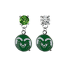 Colorado State Rams GREEN & CLEAR Swarovski Crystal Stud Rhinestone Earrings