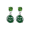 Colorado State Rams GREEN Swarovski Crystal Stud Rhinestone Earrings
