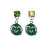 Colorado State Rams GREEN & GOLD Swarovski Crystal Stud Rhinestone Earrings
