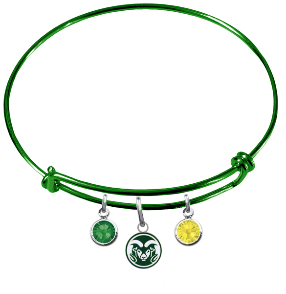 Colorado State Rams Green Expandable Wire Bangle Charm Bracelet
