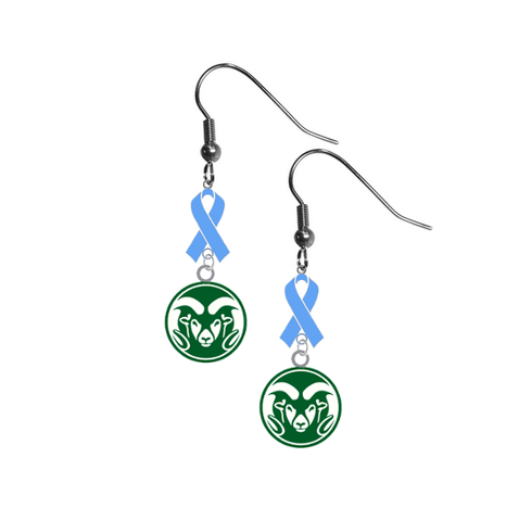 Colorado State Rams Prostate Cancer Awareness Light Blue Ribbon Dangle Earrings