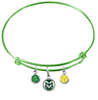 Colorado State Rams Lime Green Expandable Wire Bangle Charm Bracelet