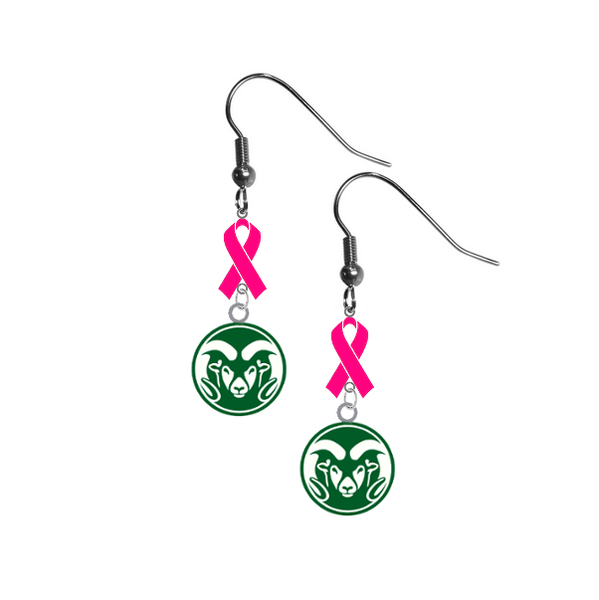 Colorado State Rams Breast Cancer Awareness Hot Pink Ribbon Dangle Earrings