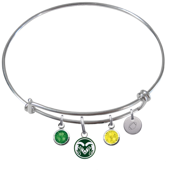 Colorado State Rams Football Expandable Wire Bangle Charm Bracelet