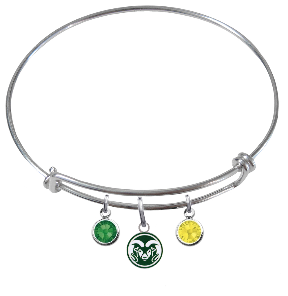 Colorado State Rams NCAA Expandable Wire Bangle Charm Bracelet