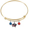 Columbus Blue Jackets Color Edition GOLD Expandable Wire Bangle Charm Bracelet