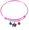 Columbus Blue Jackets Color Edition PINK Expandable Wire Bangle Charm Bracelet