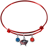 Columbus Blue Jackets Color Edition RED Expandable Wire Bangle Charm Bracelet