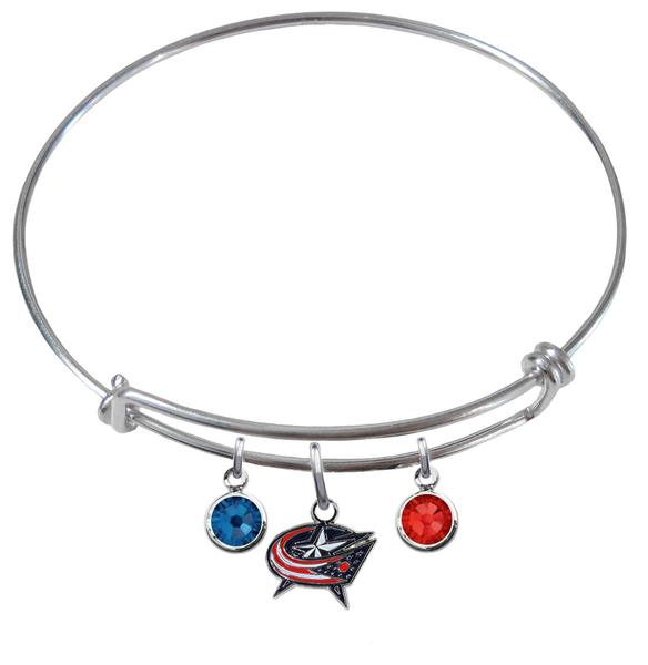 Columbus Blue Jackets NHL Expandable Wire Bangle Charm Bracelet