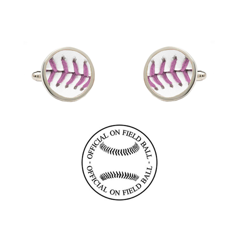 Texas Rangers Rawlings On Field Baseball Pink Cancer Mothers Day Game Ball Cufflinks