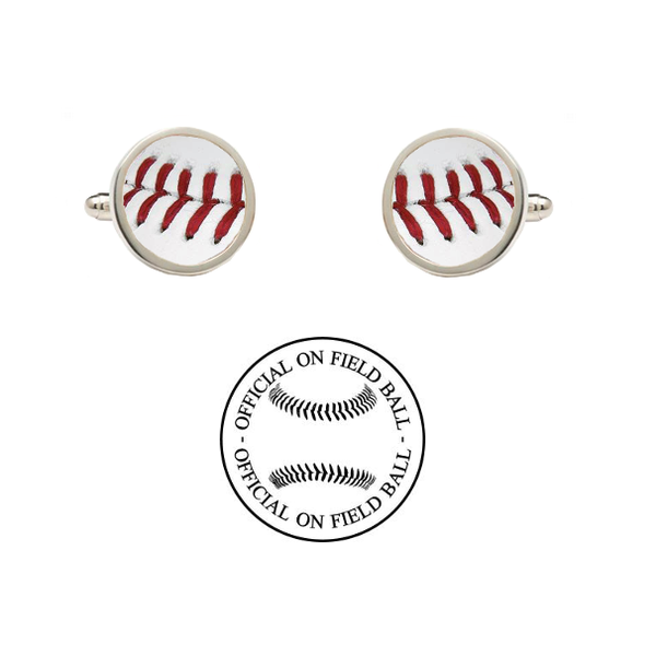 Chicago Cubs Authentic Rawlings On Field Baseball Game Ball Cufflinks