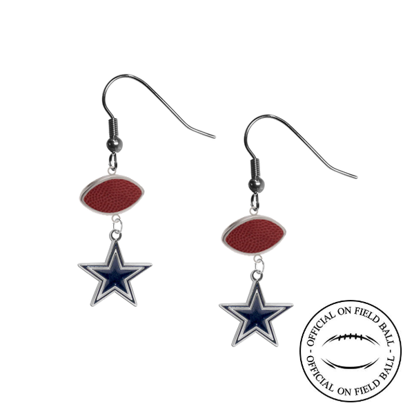 Dallas Cowboys NFL Authentic Official On Field Leather Football Dangle Earrings