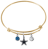 Dallas Cowboys Gold NFL Expandable Wire Bangle Charm Bracelet
