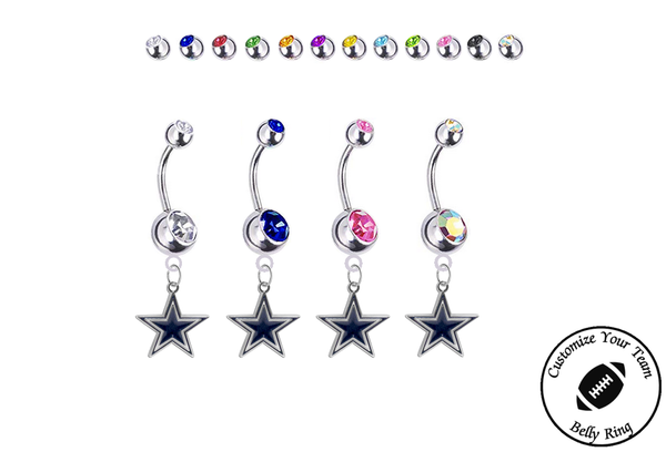 Dallas Cowboys Silver Swarovski Belly Button Navel Ring - Customize Gem Colors