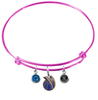 Dallas Mavericks PINK Color Edition Expandable Wire Bangle Charm Bracelet