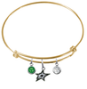 Dallas Stars Color Edition GOLD Expandable Wire Bangle Charm Bracelet