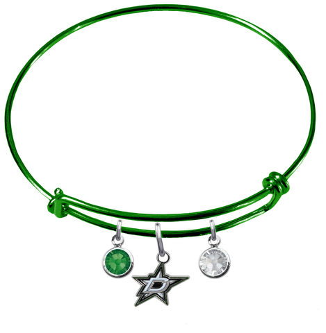 Dallas Stars Color Edition GREEN Expandable Wire Bangle Charm Bracelet