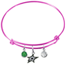 Dallas Stars Color Edition PINK Expandable Wire Bangle Charm Bracelet