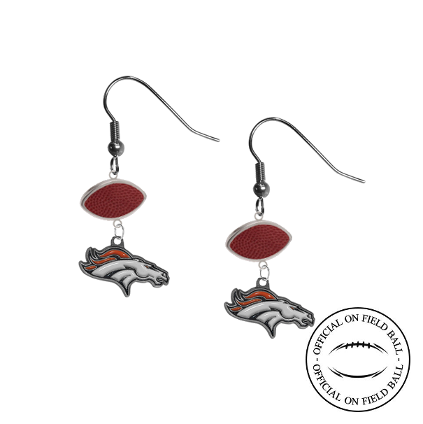Denver Broncos NFL Authentic Official On Field Leather Football Dangle Earrings