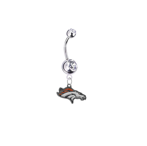 Denver Broncos Silver Clear Swarovski Belly Button Navel Ring - Customize Gem Colors