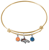 Denver Broncos Gold NFL Expandable Wire Bangle Charm Bracelet