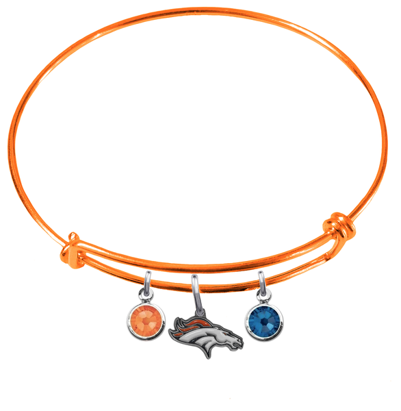 Denver Broncos Orange NFL Expandable Wire Bangle Charm Bracelet