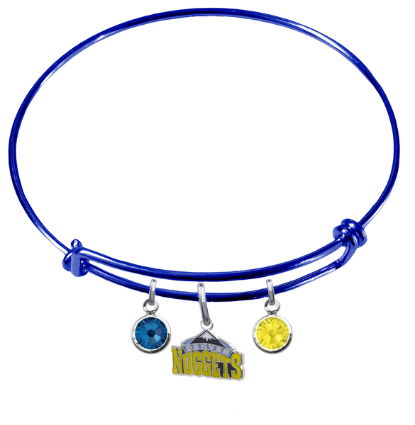 Denver Nuggets BLUE Color Edition Expandable Wire Bangle Charm Bracelet