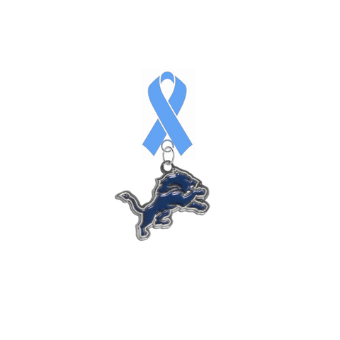 Detroit Lions NFL Prostate Cancer Awareness / Fathers Day Light Blue Ribbon Lapel Pin