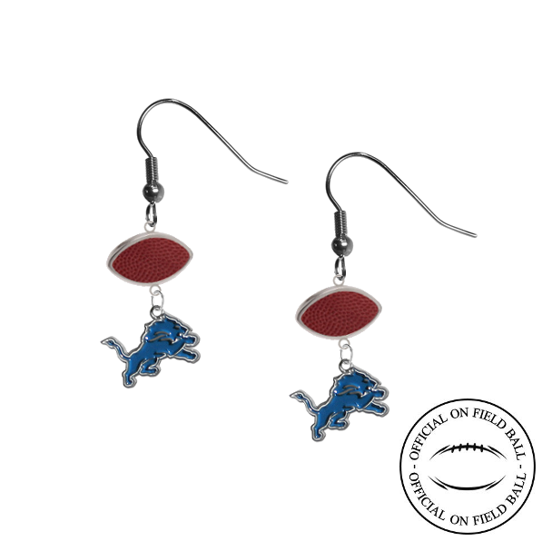 Detroit Lions NFL Authentic Official On Field Leather Football Dangle Earrings