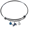 Detroit Lions Black NFL Expandable Wire Bangle Charm Bracelet