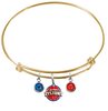 Detroit Pistons GOLD Color Edition Expandable Wire Bangle Charm Bracelet