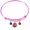 Detroit Pistons PINK Color Edition Expandable Wire Bangle Charm Bracelet