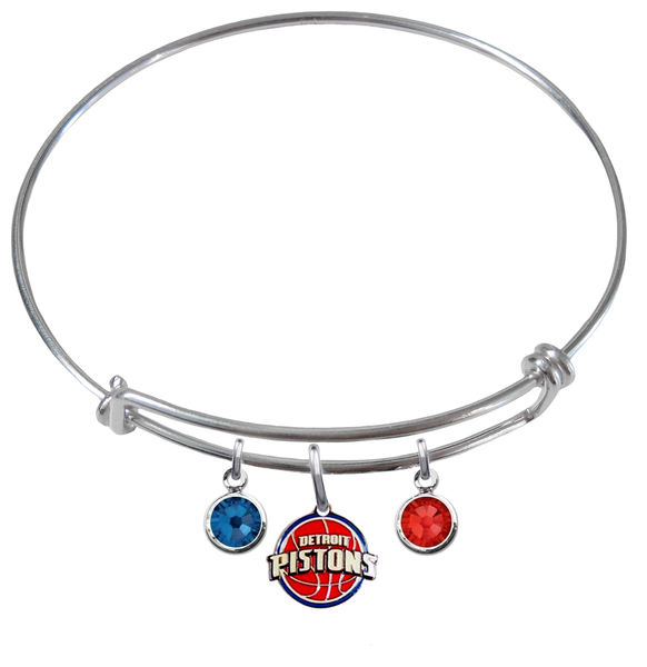 Detroit Pistons NBA Expandable Wire Bangle Charm Bracelet