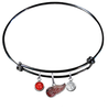 Detroit Red Wings Color Edition BLACK Expandable Wire Bangle Charm Bracelet