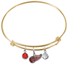 Detroit Red Wings Color Edition GOLD Expandable Wire Bangle Charm Bracelet