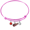 Detroit Red Wings Color Edition PINK Expandable Wire Bangle Charm Bracelet