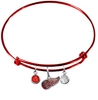 Detroit Red Wings Color Edition RED Expandable Wire Bangle Charm Bracelet