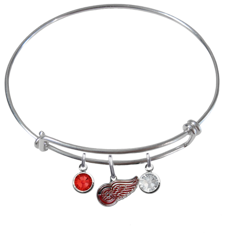Detroit Red Wings NHL Expandable Wire Bangle Charm Bracelet