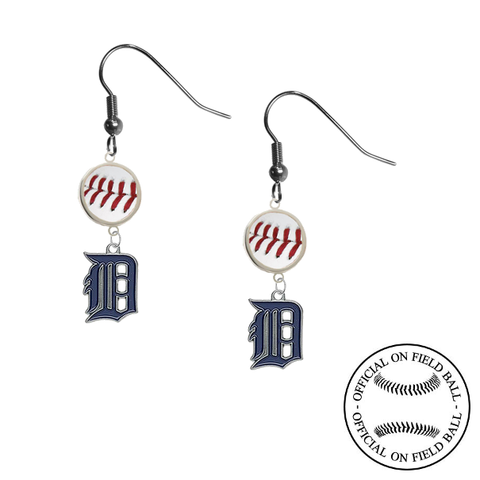 Detroit Tigers MLB Authentic Rawlings On Field Leather Baseball Dangle Earrings