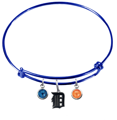 Detroit Tigers Blue MLB Expandable Wire Bangle Charm Bracelet