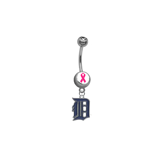 Detroit Tigers Breast Cancer Awareness Belly Button Navel Ring
