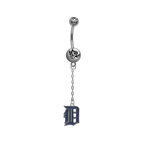 Detroit Tigers Dangle Chain Belly Button Navel Ring
