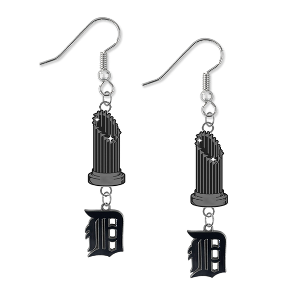Detroit Tigers MLB World Series Trophy Dangle Earrings