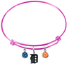 Detroit Tigers Pink MLB Expandable Wire Bangle Charm Bracelet