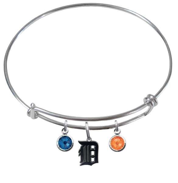 Detroit Tigers MLB Expandable Wire Bangle Charm Bracelet
