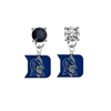 Duke Blue Devils BLACK & CLEAR Swarovski Crystal Stud Rhinestone Earrings