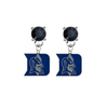 Duke Blue Devils BLACK Swarovski Crystal Stud Rhinestone Earrings