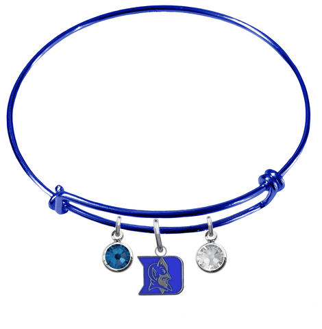 Duke Blue Devils Blue Expandable Wire Bangle Charm Bracelet
