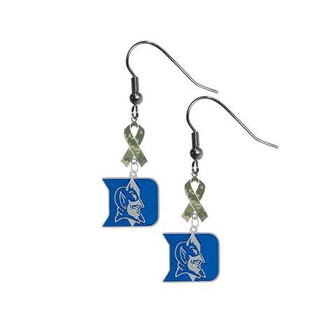 Duke Blue Devils Salute to Service Camouflage Camo Ribbon Dangle Earrings