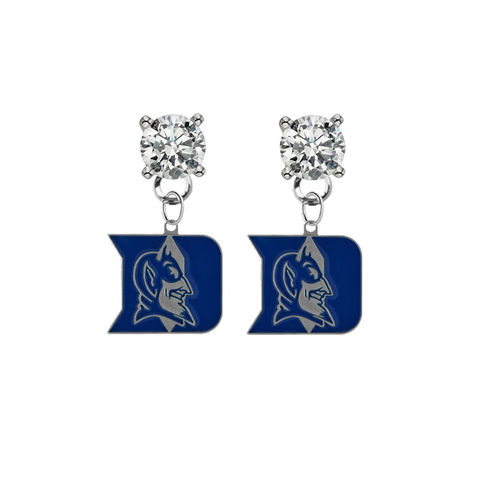 Duke Blue Devils CLEAR Swarovski Crystal Stud Rhinestone Earrings